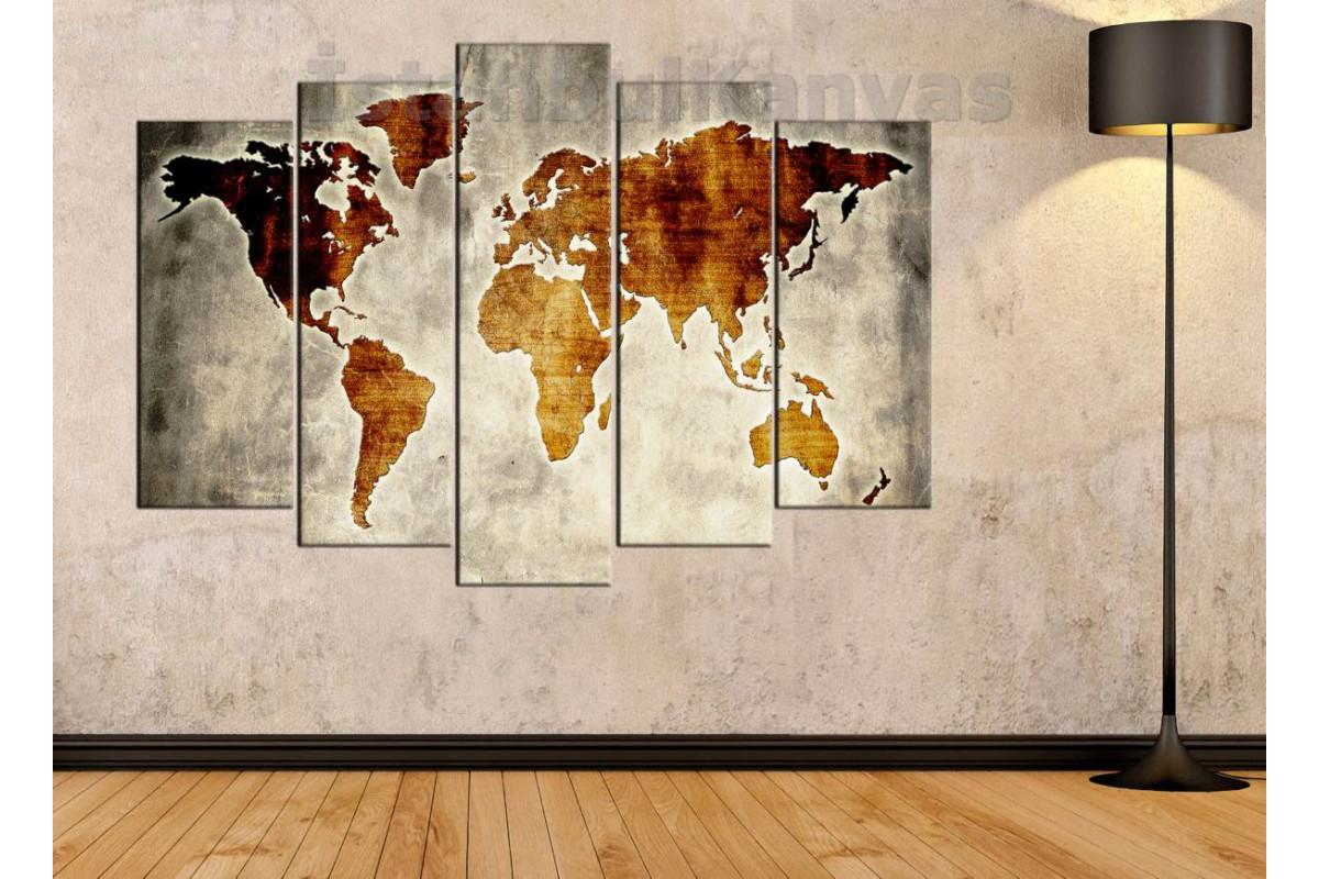dh27 - Özel Tasarım Eskitme Görünüm Dünya Haritası Kanvas Tablo