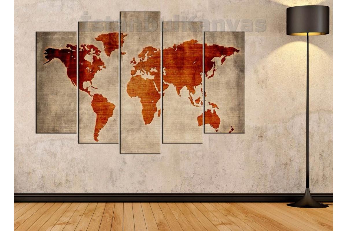 dh28 - Özel Tasarım Dokuma Kumaş Görünümlü Dünya Haritası Kanvas Tablo