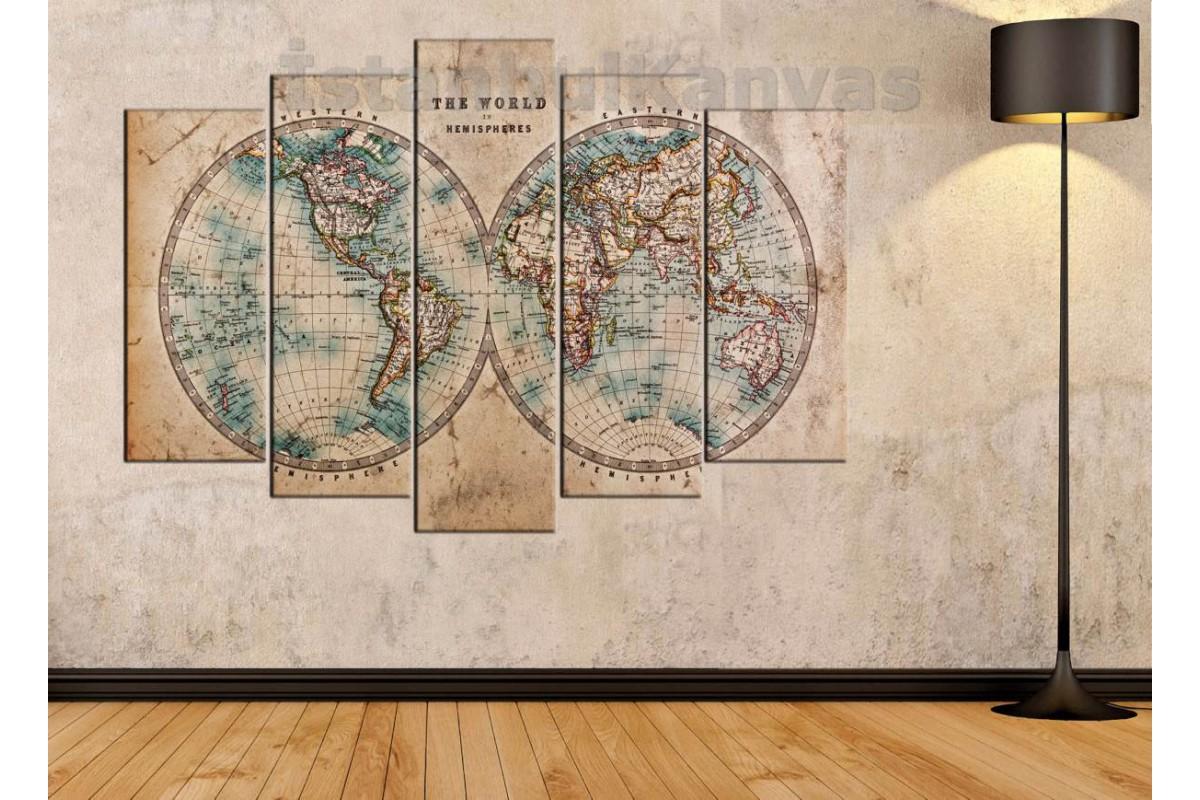 dh29b - 18.yy Küre Dünya Haritası Dekoratif Kanvas Tablo