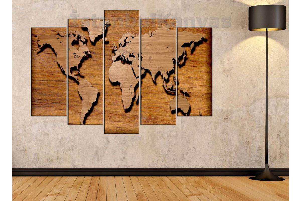 dh3 - Özel Tasarım Ahşap Görünümlü Dünya Haritası Kanvas Tablo
