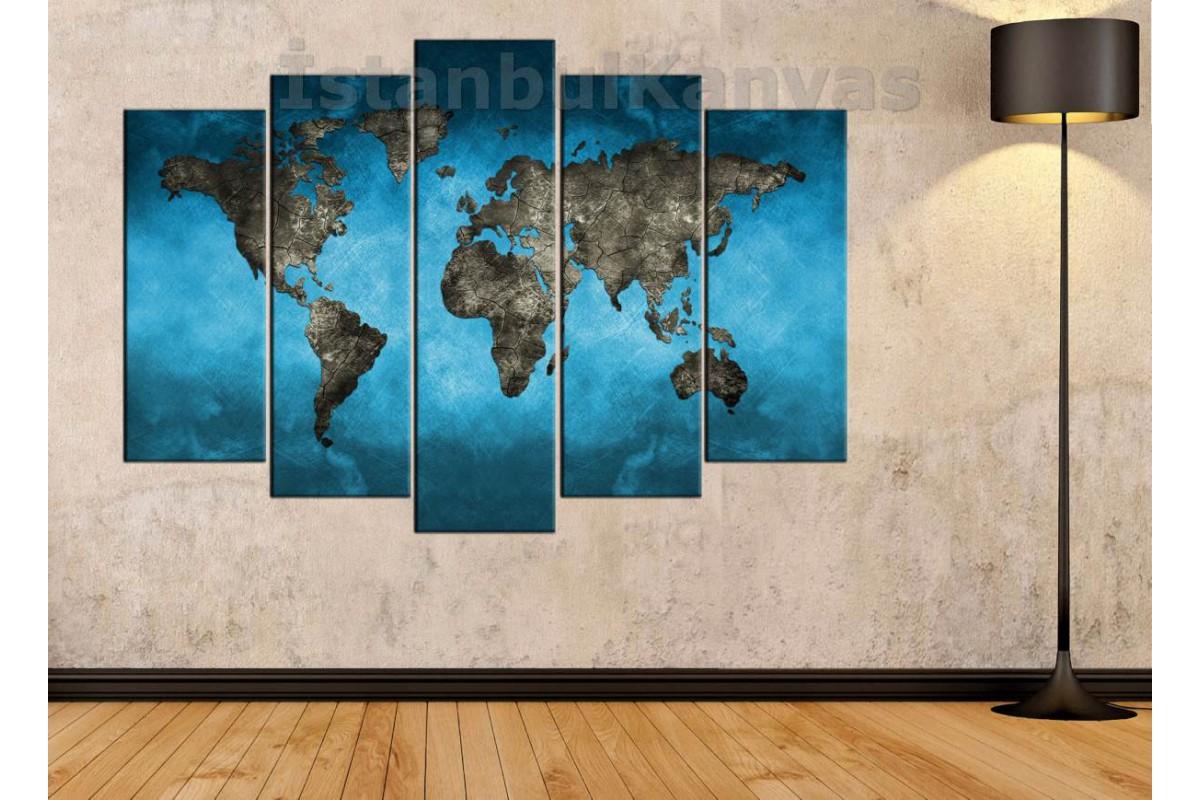 dh4 -  Turkuaz ve Taş Görünümlü Dünya Haritası Kanvas Tablo