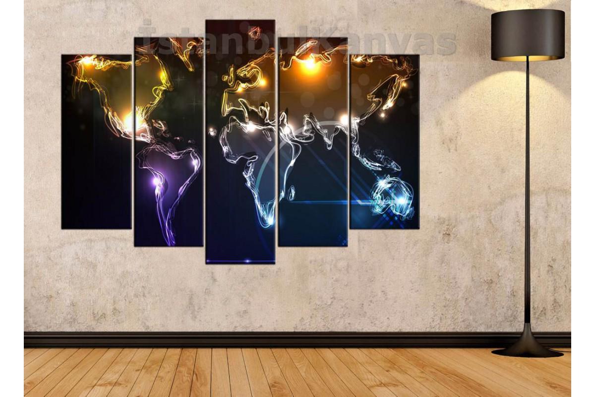 dh5 - Canlı Renkli Soyut Dünya Haritası Kanvas Tablo