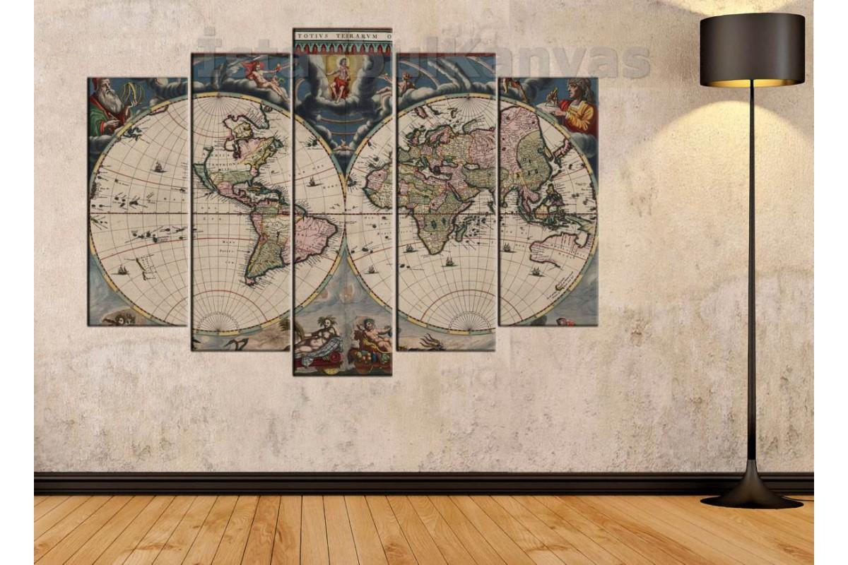 dh7 -  18. yüzyıl Küre Dünya Haritası Kanvas Tablo