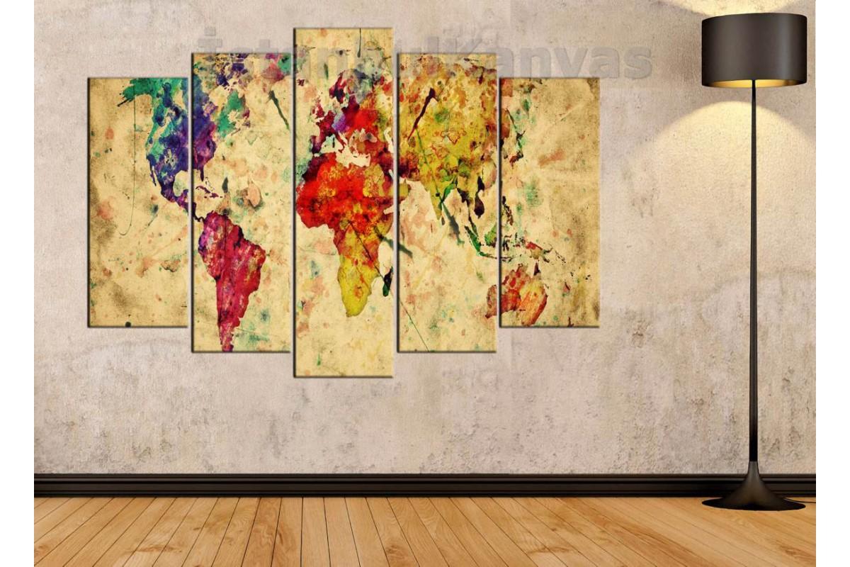 dh8 - Eskitme yağlı boya görünümlü Dünya Haritası Kanvas Tablo