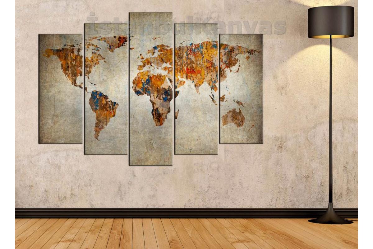 dh9 - Eskimiş Görünümlü Dünya Haritası Kanvas Tablo