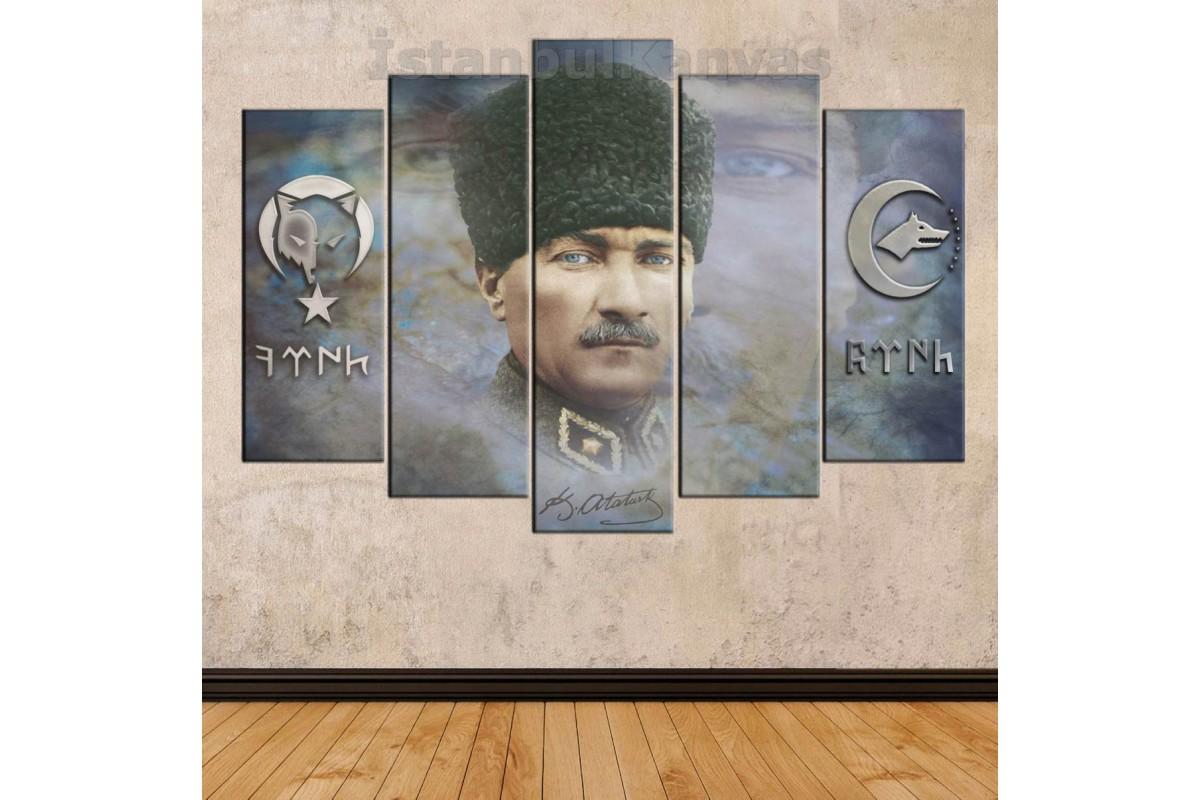 skr212 - Atatürk, Göktürkçe ve Uygurca Türk Yazısı, Bozkurt Sembolü özel tasarım kanvas tablo