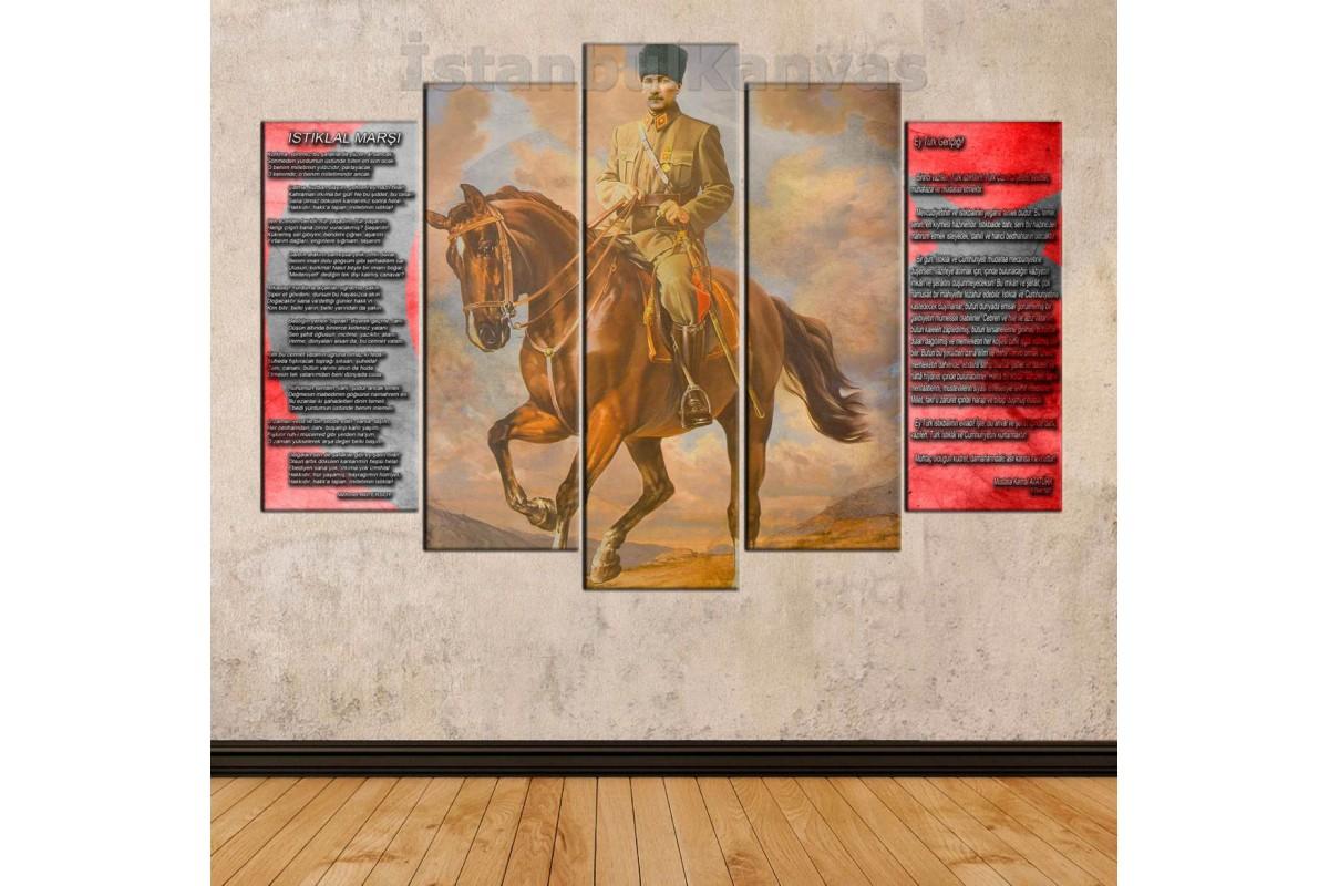 skra14 - AT BİNEN ATATÜRK, İSTİKLAL MARŞI, GENÇLİĞE HİTABE ÖZEL TASARIM kanvas tablo