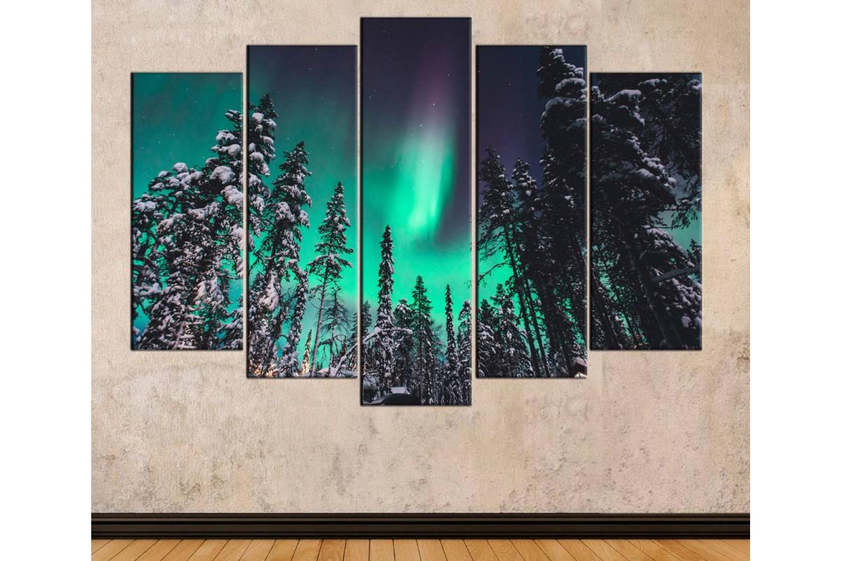 skzy34 - Aurora Borealis, Kuzey Kutup Işıkları ve Orman Manzaralı Kanvas tablo