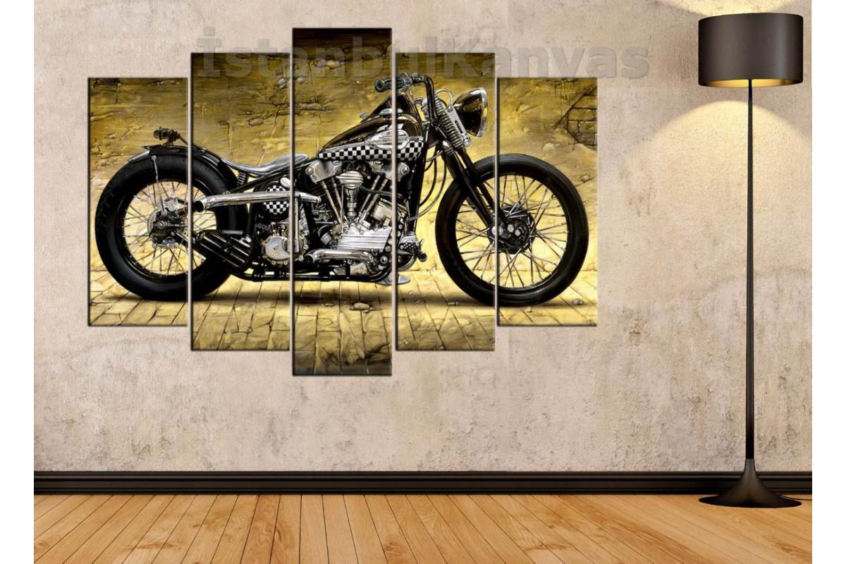 sm19 - Harley Davidson Klasik Motosiklet Kanvas Tablo