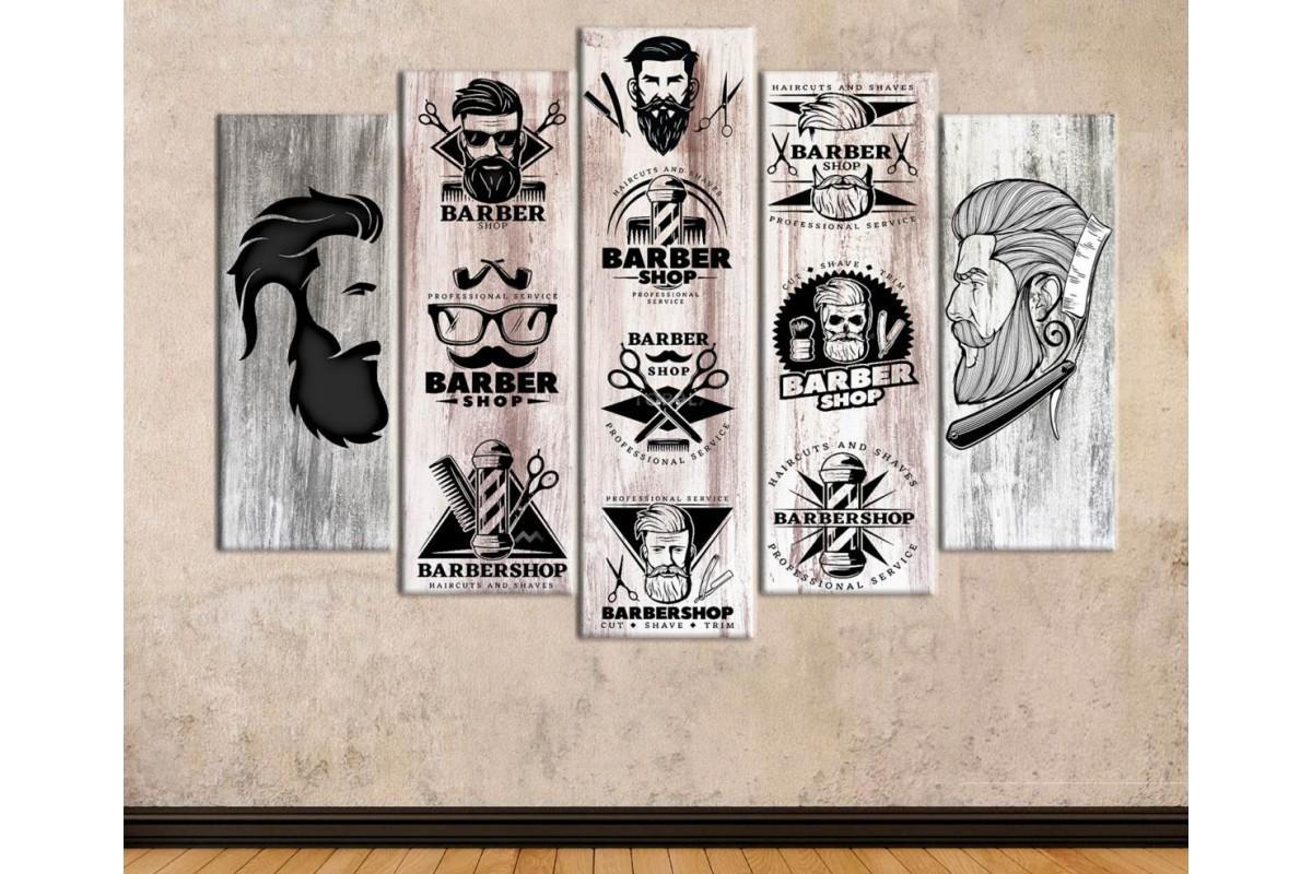 srbb4 - Berber Dekorasyonu, Sakallı Erkek Kuaförü, Hipster Özel Tasarım kanvas tablo
