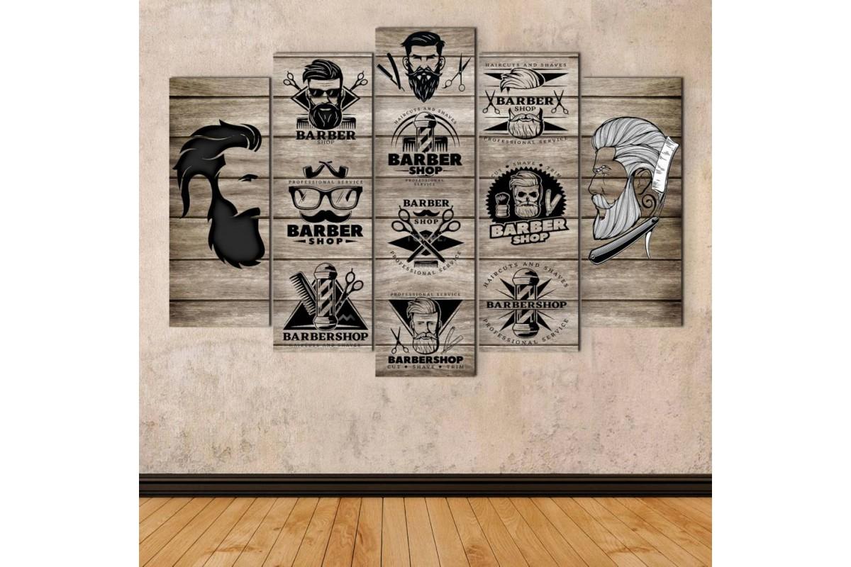 srbb4b - Ahşap Görünümlü Erkek Berberi, Sakallı Hipster Erkek Kuaförü Kanvas Tablo