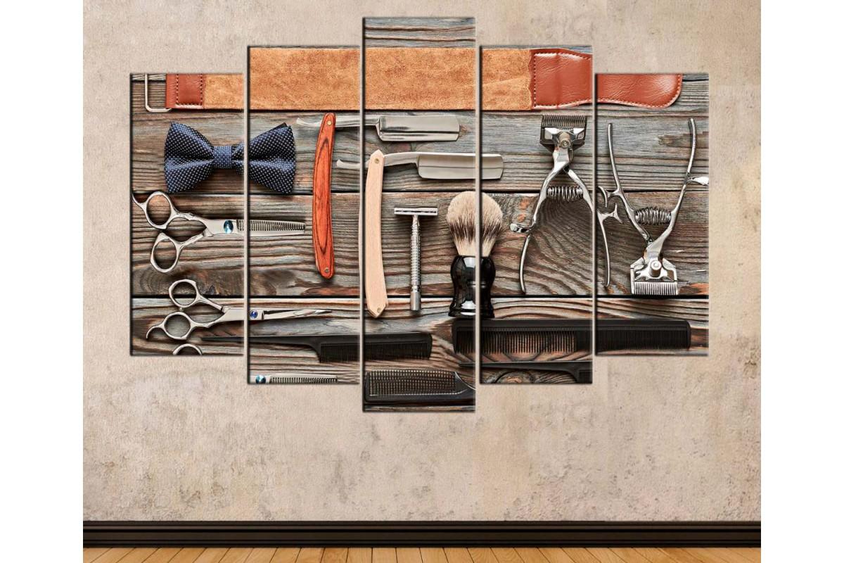 srbb5 - Eski Berber Aletleri, Vintage Erkek Kuaför Malzemeleri Özel Tasarım kanvas tablo
