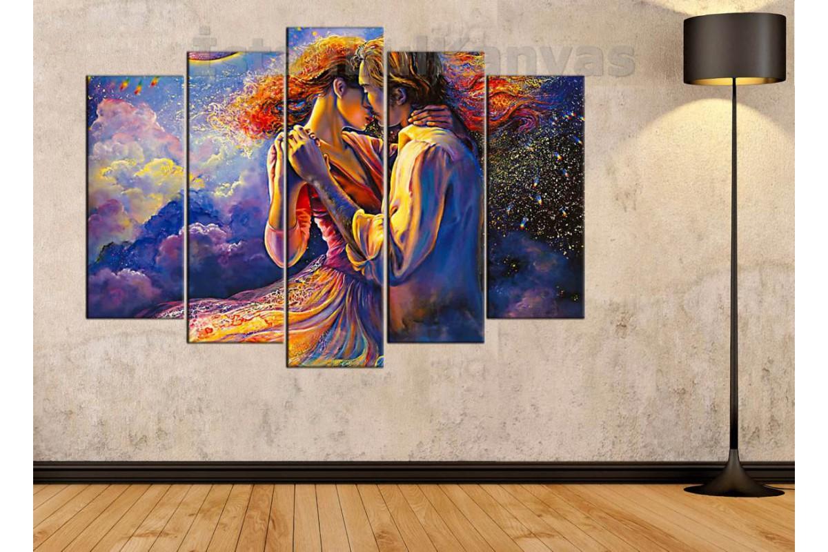 srd17b - Soyut Yağlı Boya Görünüm Dans Eden Sevgililer Kanvas Tablo