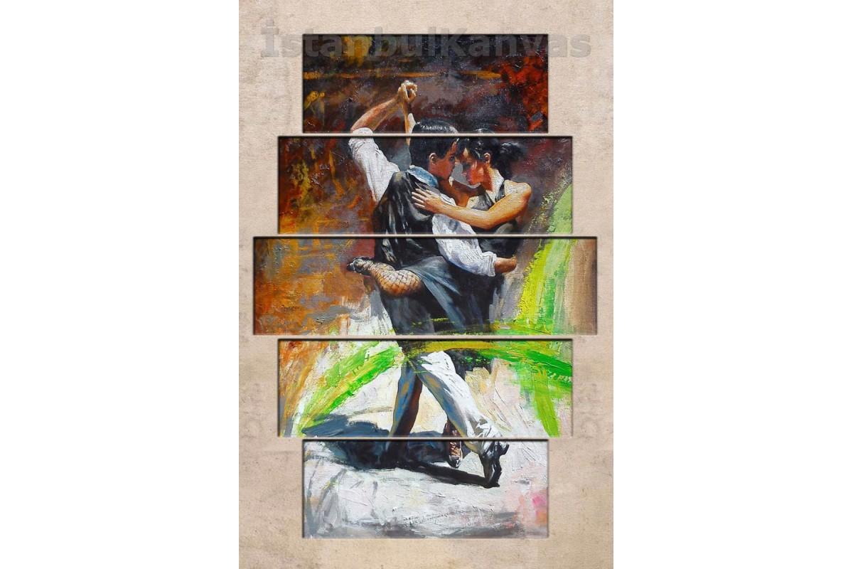 srd22b - Soyut Yağlı Boya Görünümlü Tangocu Çift - Dans - Kanvas Tablo
