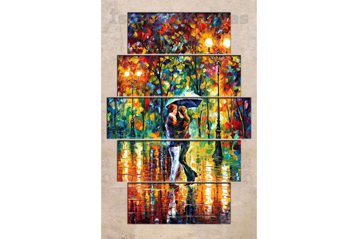 srd24b - Soyut Yağlı Boya Görünümlü Dans Eden Şemsiyeli Sevgililer Kanvas Tablo
