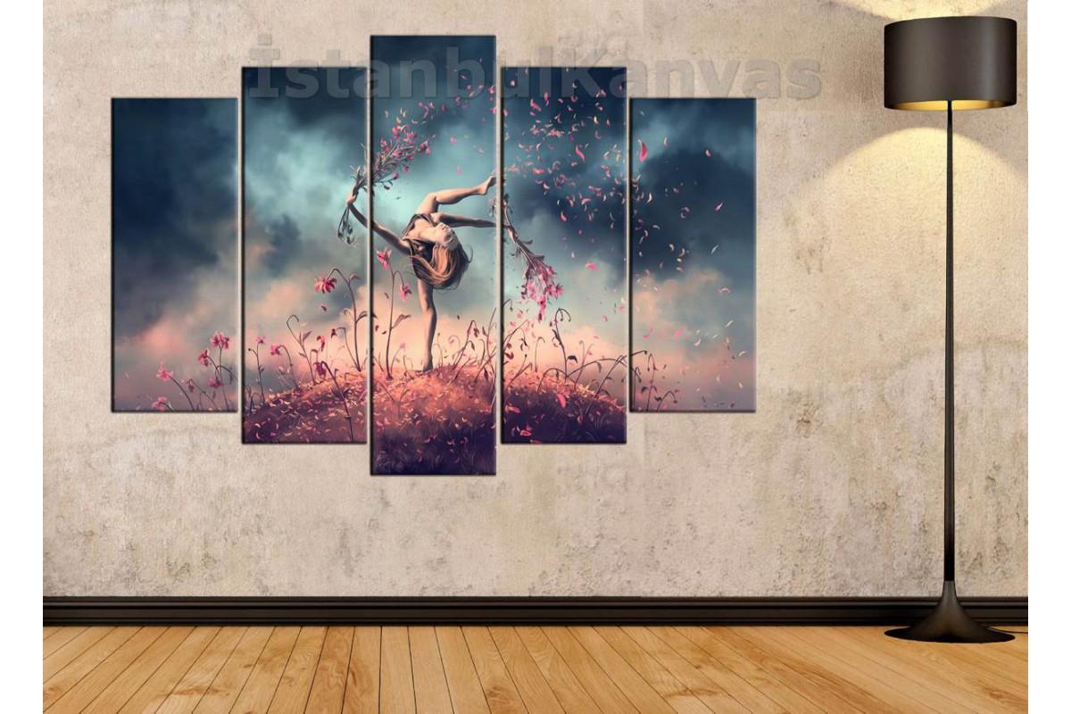 Srd2b Soyut Yağlı Boya Görünümlü Balerin Modern Dans Kanvas Tablo