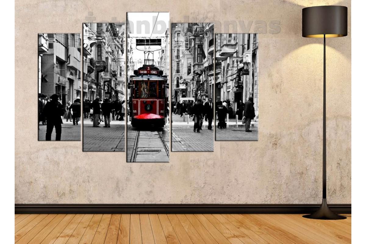 srd31 - Beyoğlu - Taksim Nostaljik Tramvay Siyah Beyaz Ve Kırmızı Renk Kanvas Tablo