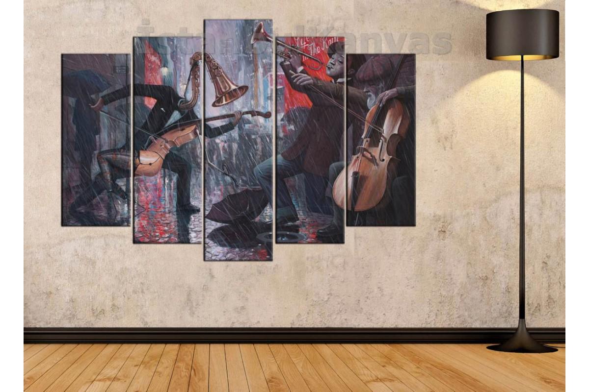 srd5b- Yağlı Boya Görünümlü Dans Eden Enstrümanlar - Modern Sanat - Soyut Kanvas Tablo