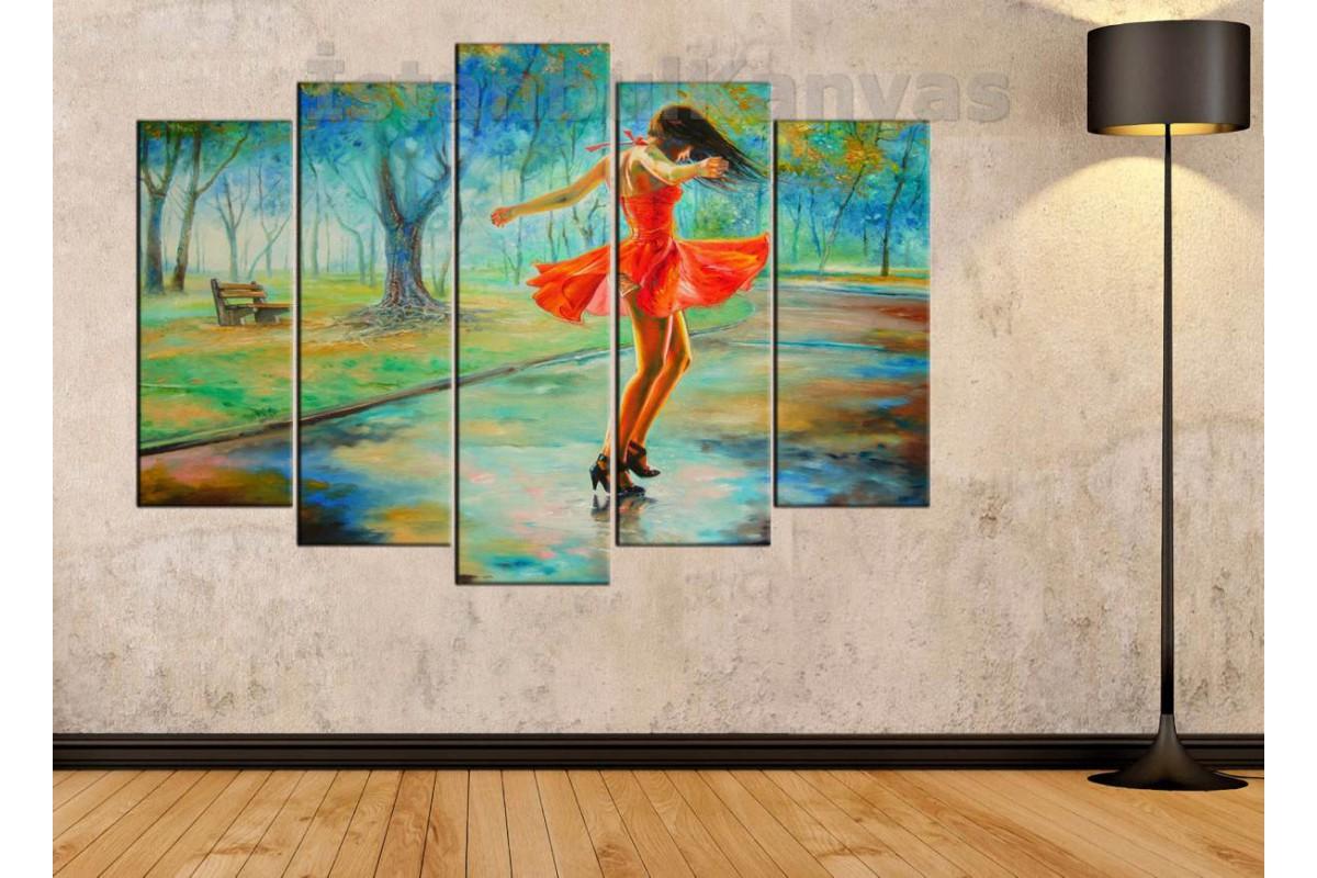 srd9b - Yağlı Boya Görünümlü Dans Eden Kız - Dans - Soyut Kanvas Tablo