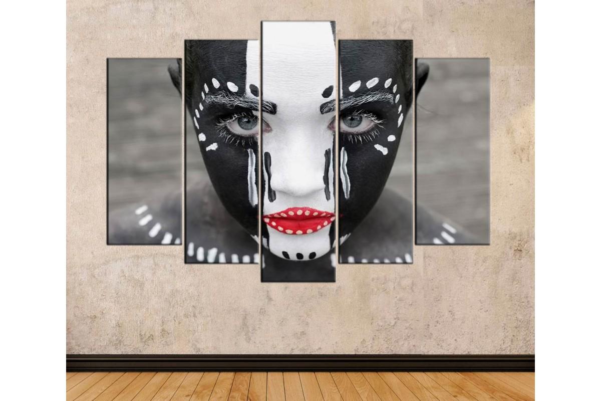 srda14 - Siyah ve Beyaz Makyajlı Kadın Dekoratif Kanvas Tablo