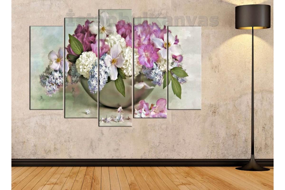 srfw5 - Vazo ve Çeşitli Çiçekler - Yağlı Boya Görünümlü Kanvas Tablo