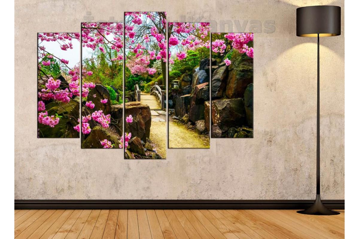 srfw6 - Tahta Köprü, Pembe Çiçekler ve Kayalar Kanvas Tablo