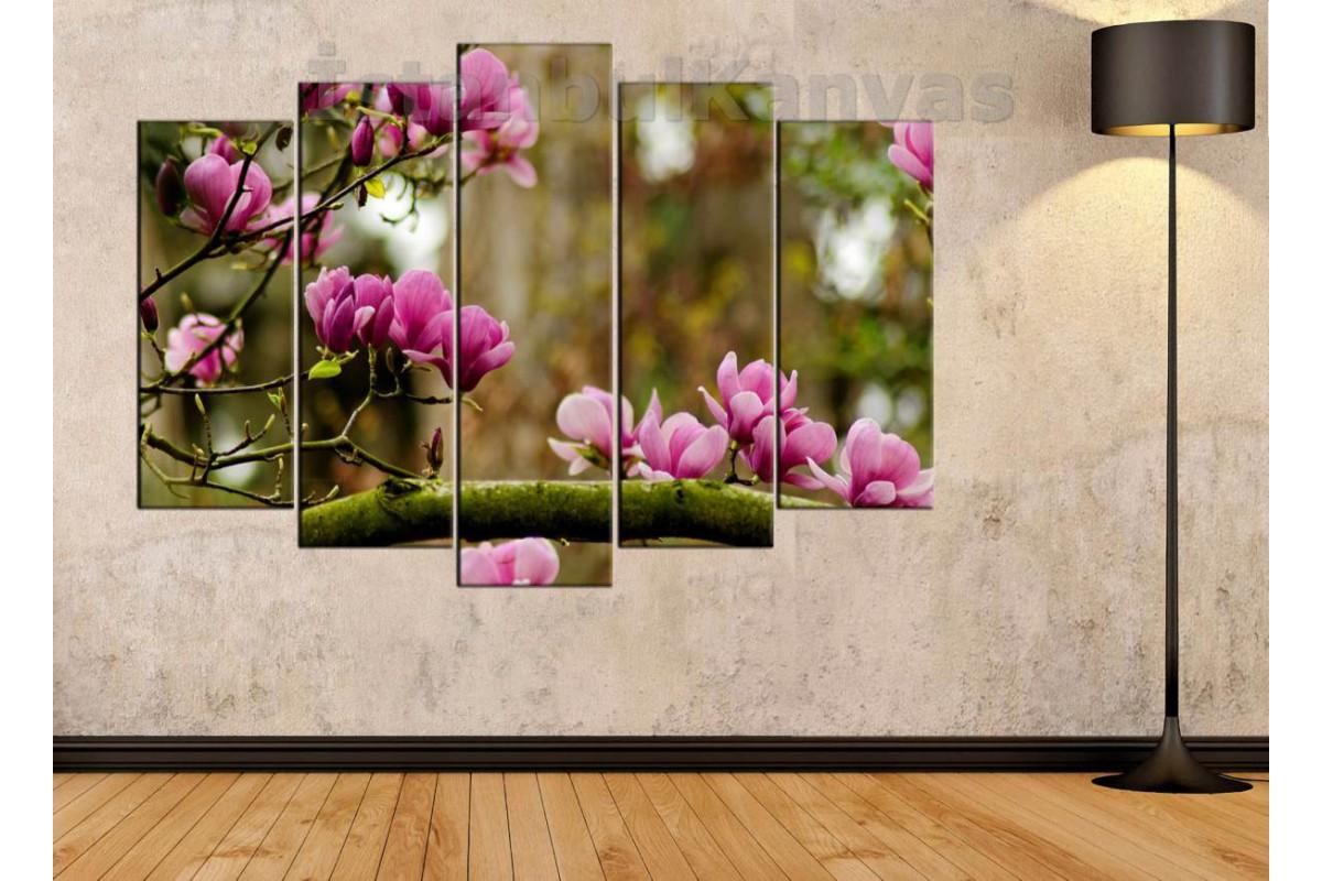 srfw8 - Dalında Açan Pembe ve Leylak Rengi Çiçekler Kanvas Tablo