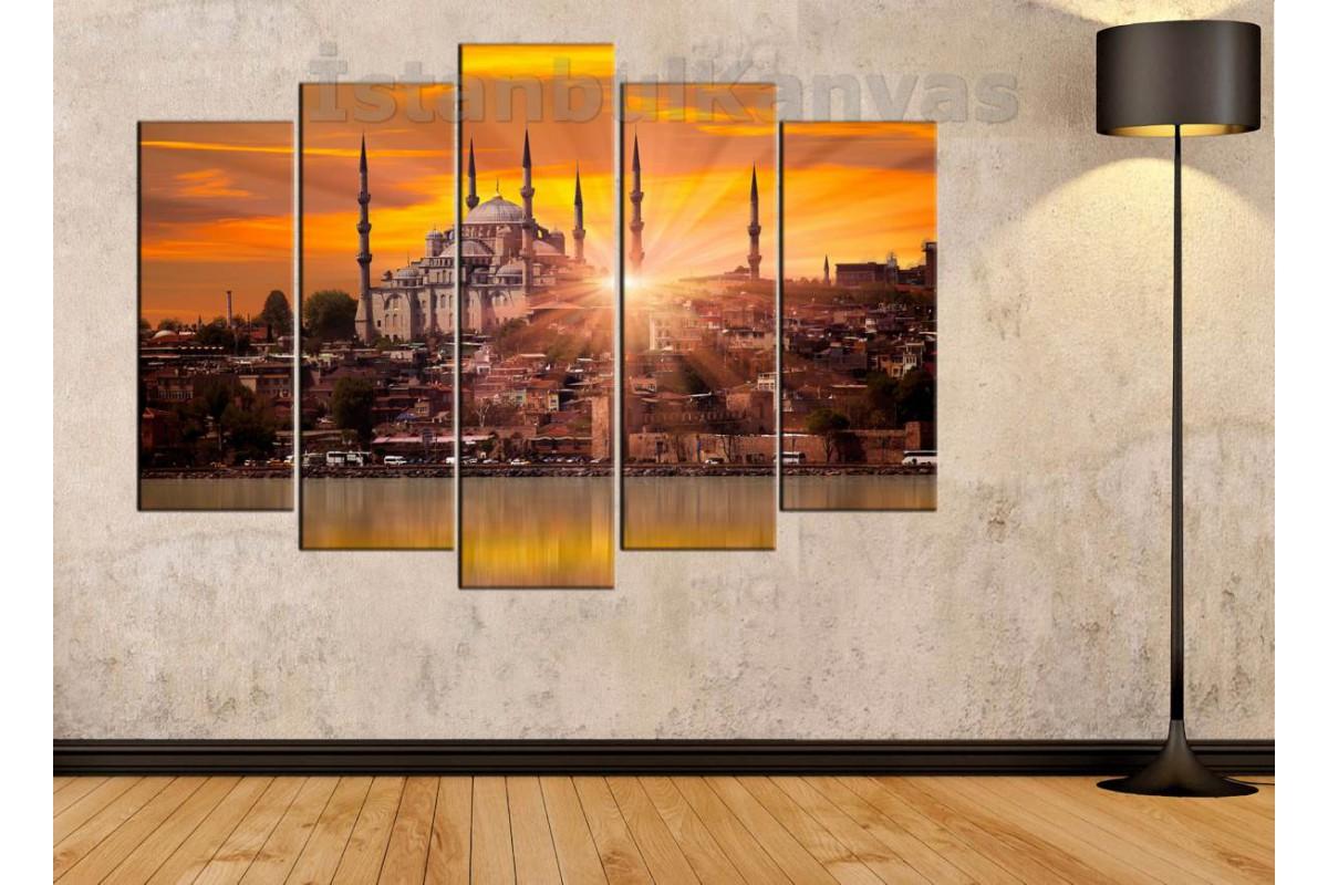 srd16 - Cami ve Gün Batımı Manzaralı İstanbul Kanvas Tablo