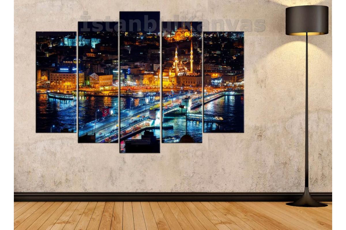 srk23 - Galata Köprüsü ve Eminönü Gece Manzaralı Kanvas Tablo
