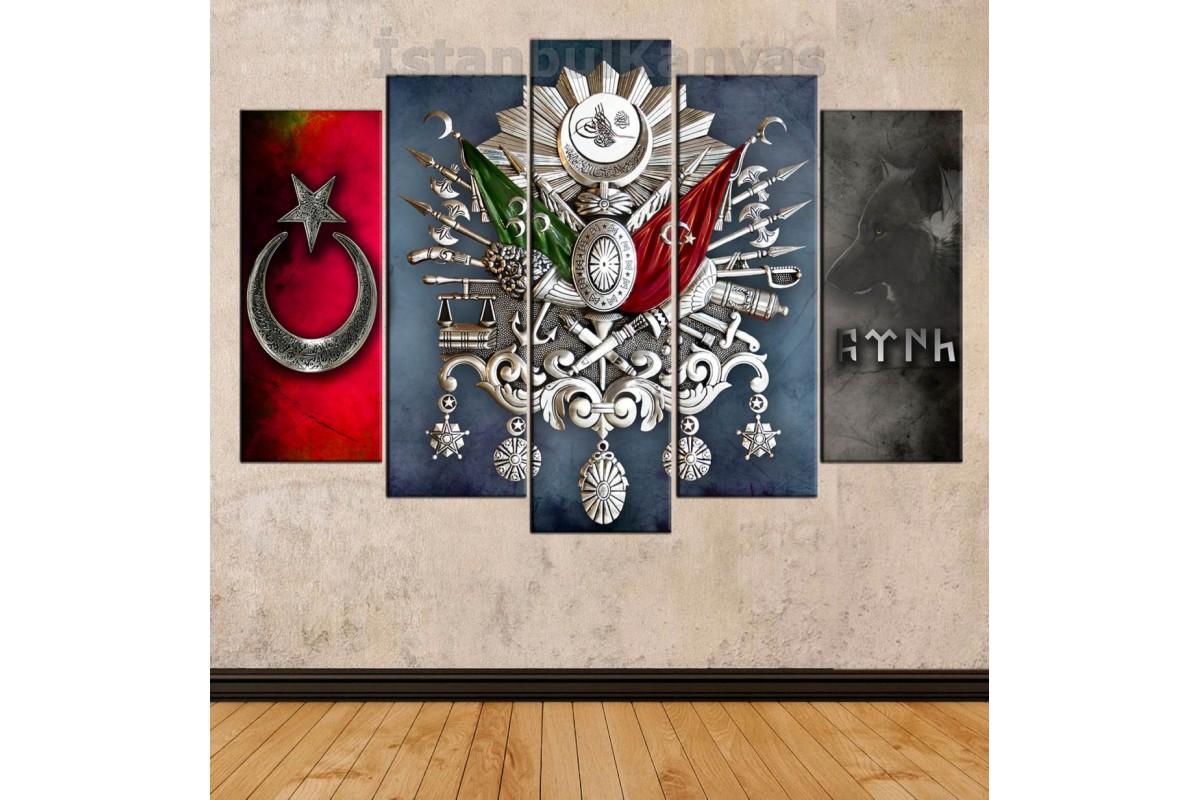 skr289 - GÜMÜŞ GÖRÜNÜM OSMANLI ARMA, TUĞRA, GÖKTÜRKÇE TÜRK YAZISI, KURT temalı kanvas tablo