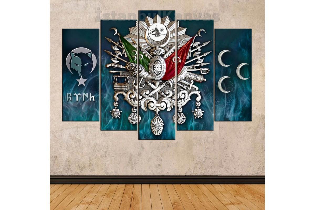 skr295b - Gümüş Görünümlü Osmanlı Arması, Kurt Sembollü Ay Yıldız, Türk yazısı ve 3 Hilal, Mavi Alev ZeminTablo