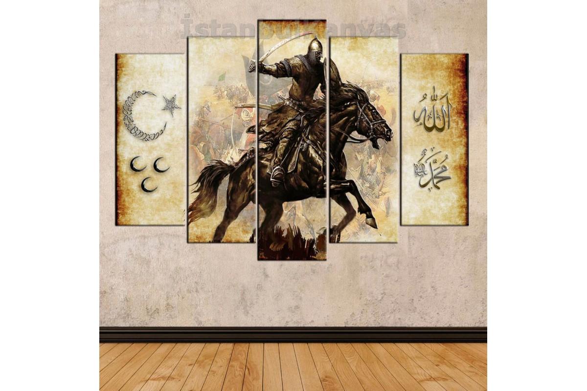 srk303 - OSMANLI SAVAŞÇI-AY YILDIZ-3 HİLAL-ALLAH-MUHAMMED özel tasarımımız kanvas tablo