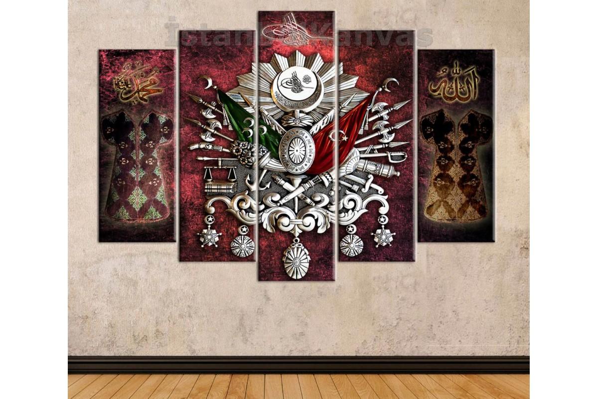 srk427 - Osmanlı Arması, Tuğra, Osmanlı Kaftanları, Allah, Hz.Muhammed Tasarım Kanvas Tablo