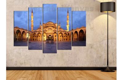 srk449_5p - İstanbul Sultanahmet Camii Avlusu gün batımı manzarası kanvas tablo