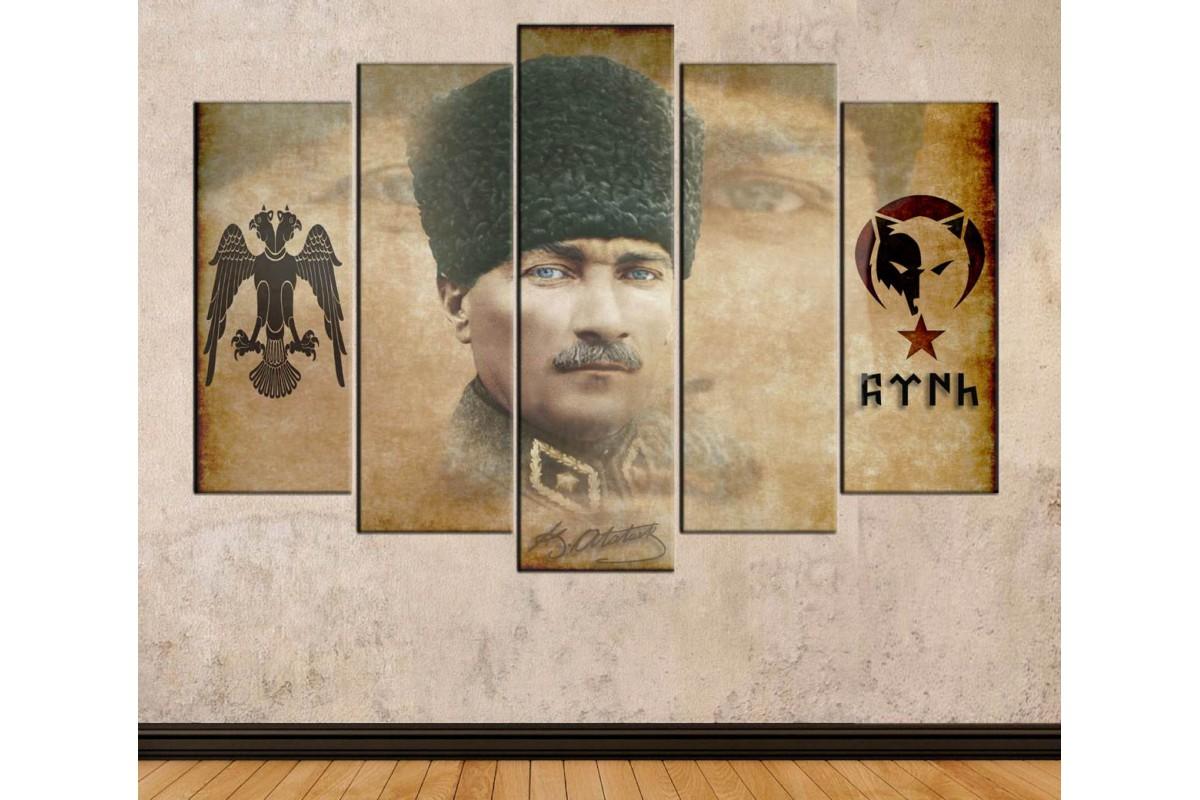 srkc7 - Mustafa Kemal Atatürk, Çift Başlı Selçuklu Kartalı, Türk Yazısı Türkçü kanvas tablo