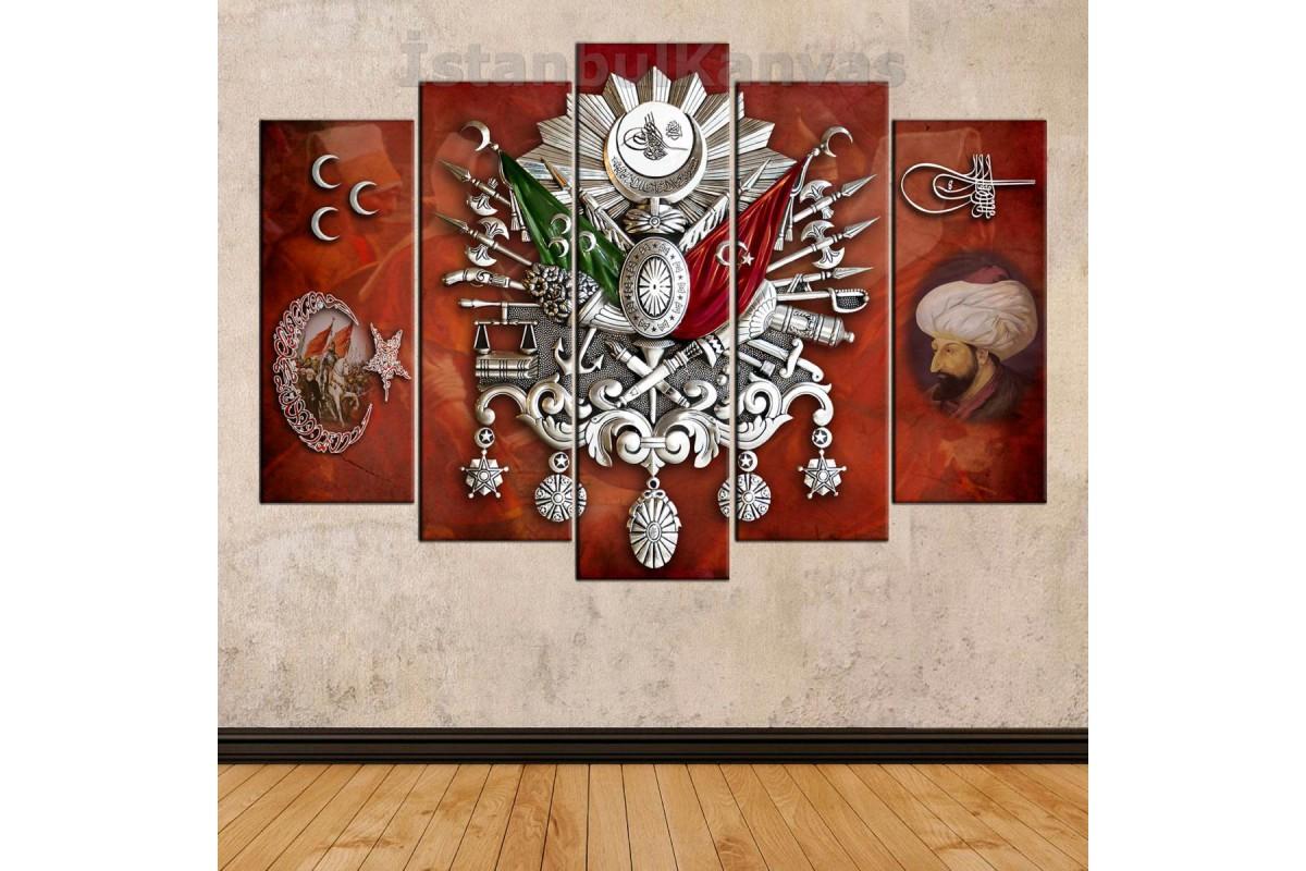 skrf411 - OSMANLI ARMA, FATİH SULTAN MEHMET VE TUĞRASI, AY YILDIZ, ÜÇ HİLAL kanvas tablo