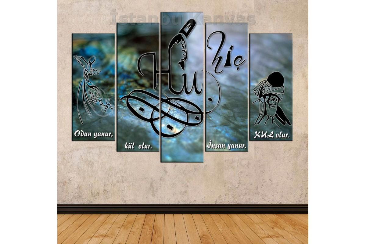 srkk15 - HİÇLİK MAKAMI, HİÇ, Hu, Semazen ve Hz. Mevlana temalı özel tasarım Kanvas Tablo