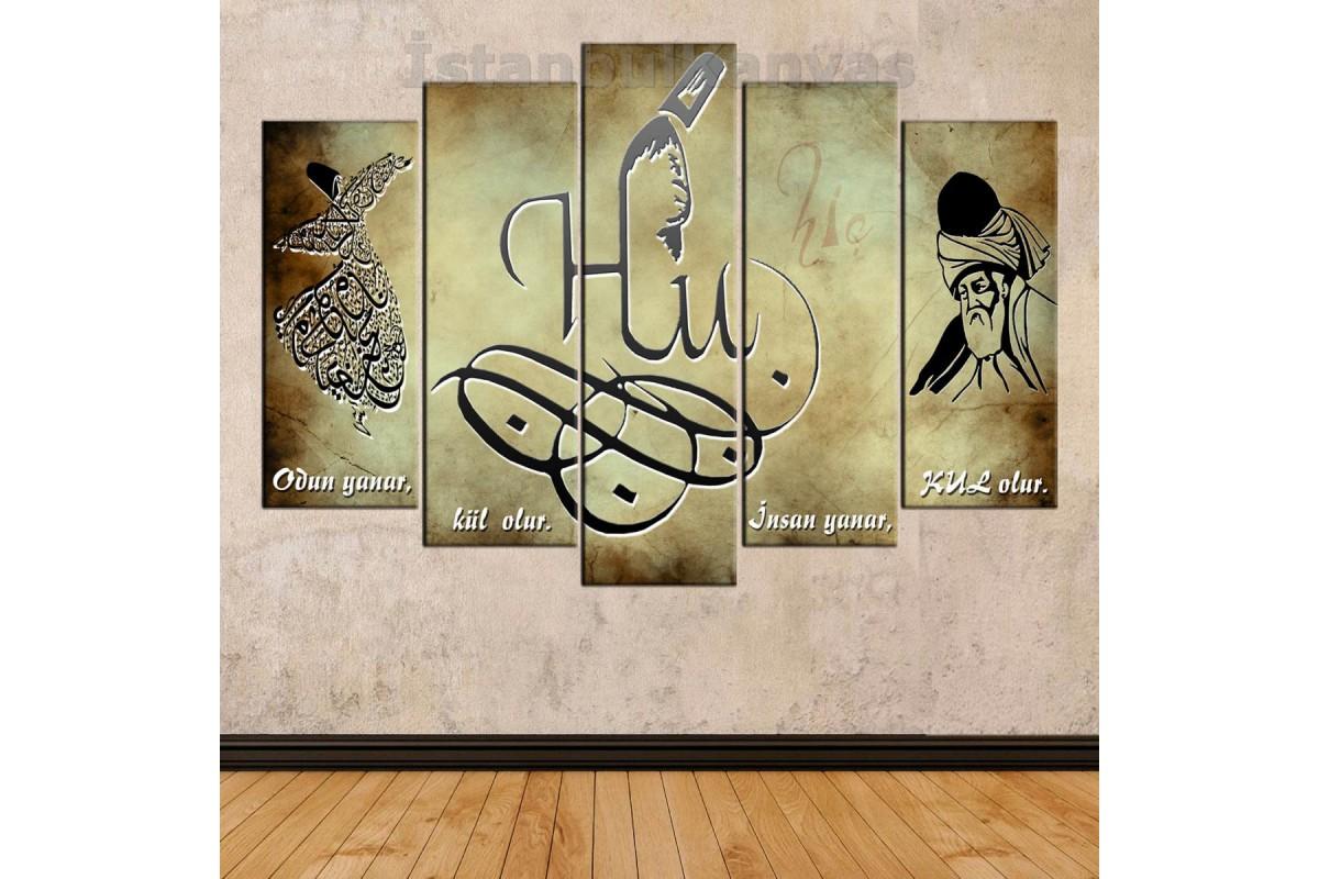 srkk15b - HİÇLİK MAKAMI, HİÇ, Hu, Semazen ve Hz. Mevlana temalı özel tasarım Kanvas Tablo