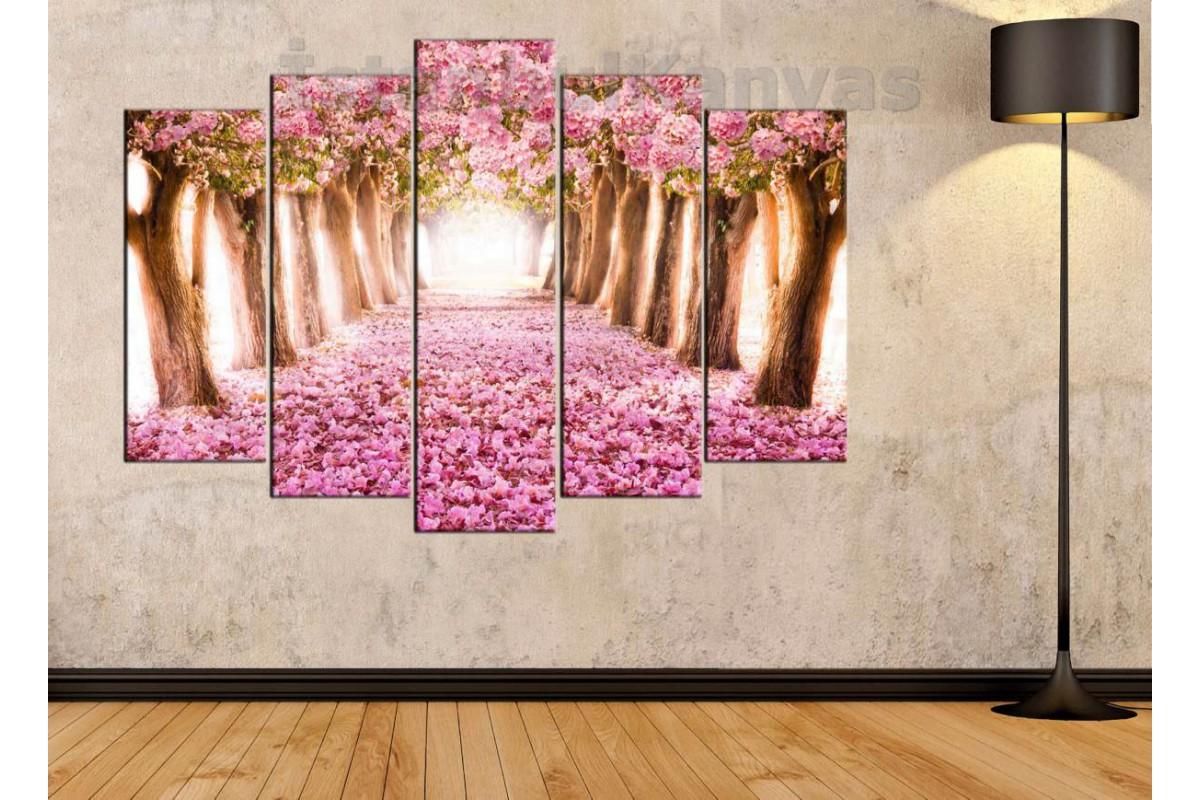 srkm06 - Pembe Çiçekli Ağaçlar Manzaralı Kanvas Duvar Tabloları