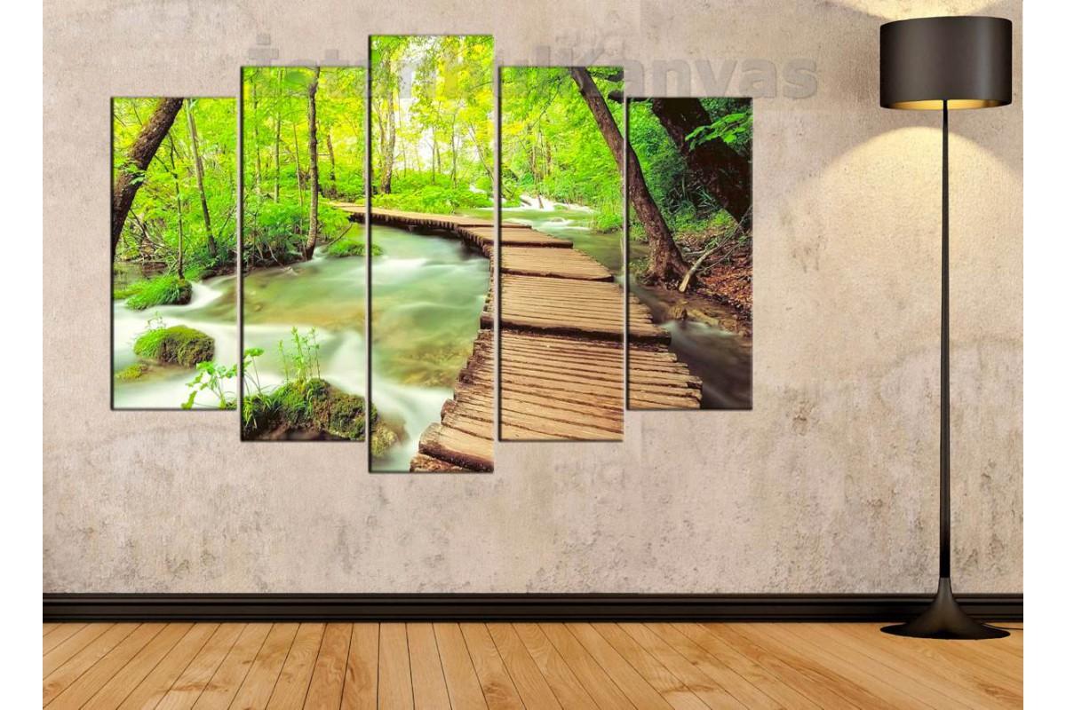 srkm43 - Nehir ve Tahta Yol ve Orman Manzaralı Dekoratif Kanvas Duvar Tablosu