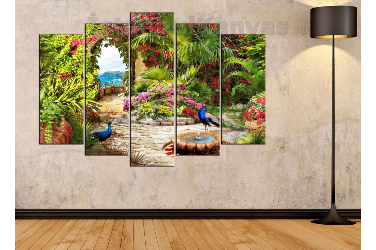 srkm47 - Çiçekli Bahçe ve Tavus Kuşları Manzaralı Kanvas Tablo