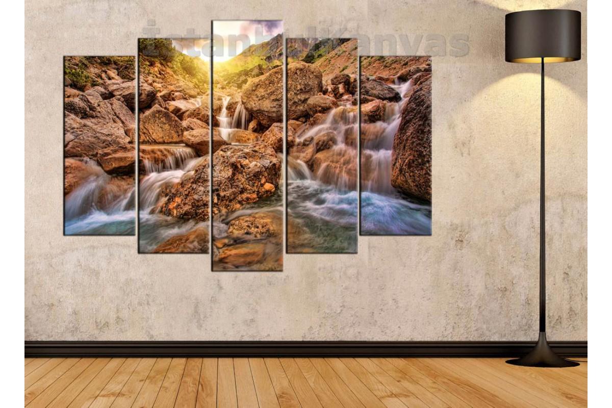 srkm52 - Şelale manzarası dekoratif kanvas duvar tablosu
