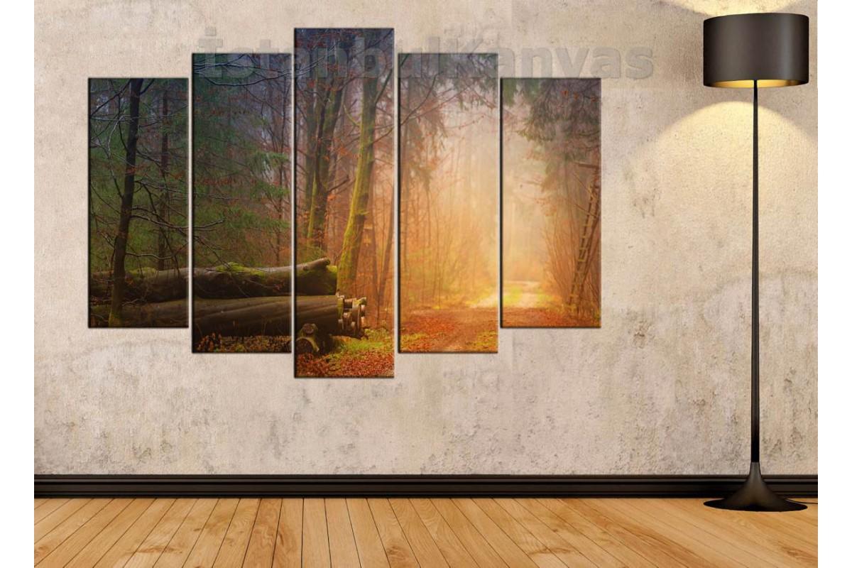 srkm53 - Orman yolu manzaralı dekoratif kanvas duvar tablosu