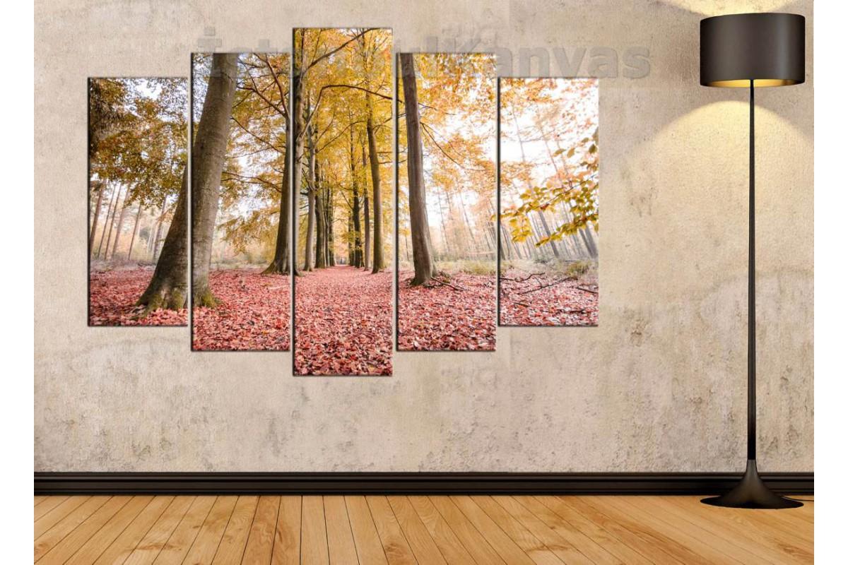 srkm56 - Sonbaharda Orman ve Ağaçlı Yol dekoratif kanvas duvar tablosu
