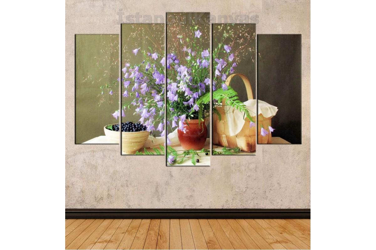 srkn2 -Leylak rengi Çiçekler, Meyveler, Piknik Sepeti yemek odası Dekoratif Natürmort kanvas tablo