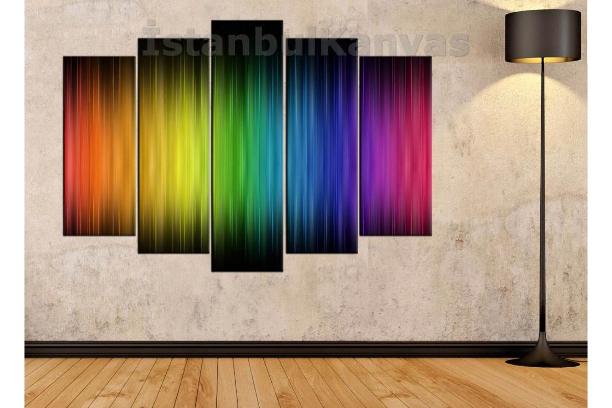 srks13 - Gökkuşağı Renkleri Dekoratif Kanvas Duvar Tablosu