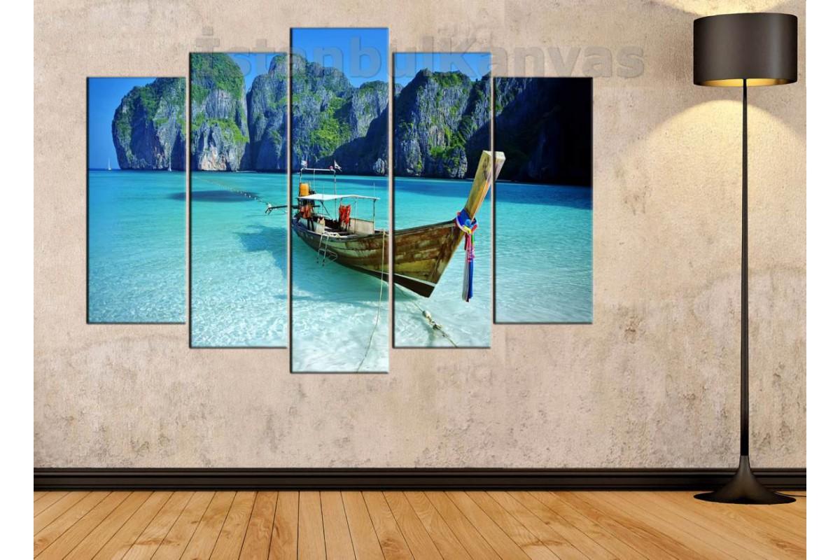 srks17 - PHUKET, MAYA BEACH, GELENEKSEL SANDAL manzaralı kanvas tablo