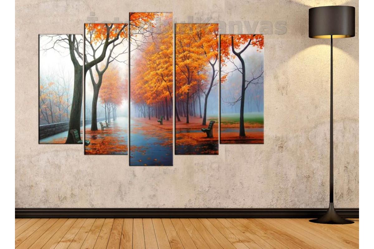srks19 - Park ve Sonbahar Yaprakları temalı Yağlı Boya görünümlü Dekoratif Kanvas Tablo