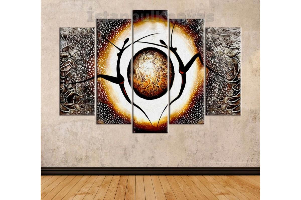 srks35 - Yağlı Boya Görünümlü Dekoratif Dans Eden Balerinler Soyut Kanvas Tablo