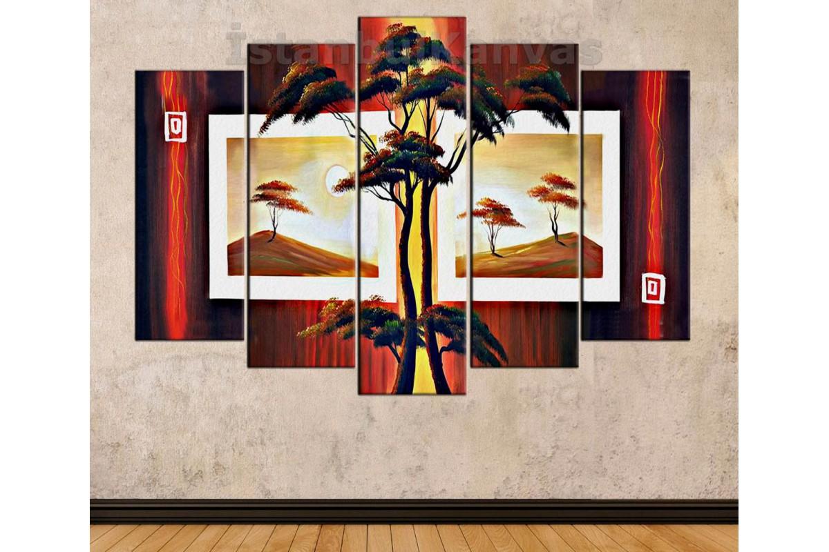 srks42 - Yağlı Boya Görünümlü Ağaçlar ve Çerçeveler Soyut Kanvas Tablo